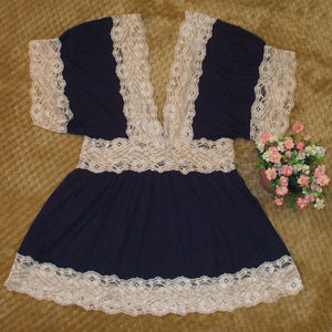 Beautiful Navy Deep V Neck Lace Trimmed Top
